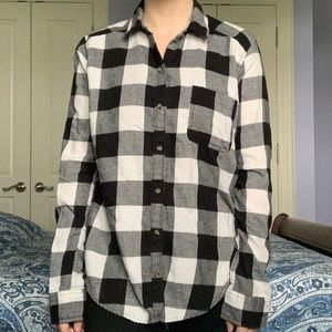 Hollister plaid black and white button up shirt